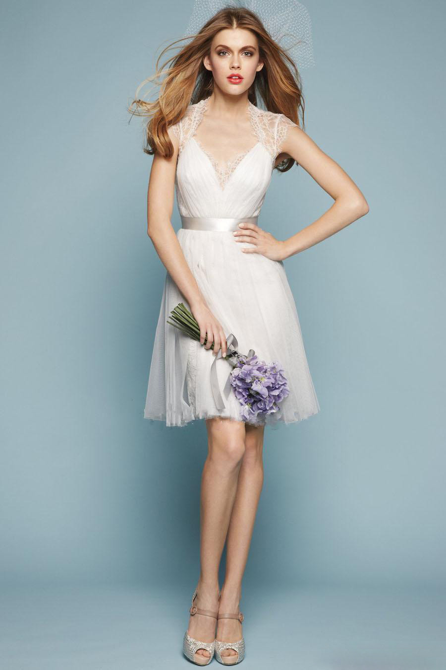 Romantic A Line Lace Bridesmaid Dresses Short Sleeve Tulle Wedding ...