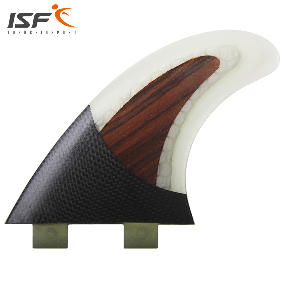 ФОТО Insurfin Carbonfiber & Wood  Surfboard FinsThruster Fin Set (3) FCS Compatible Surf Fin