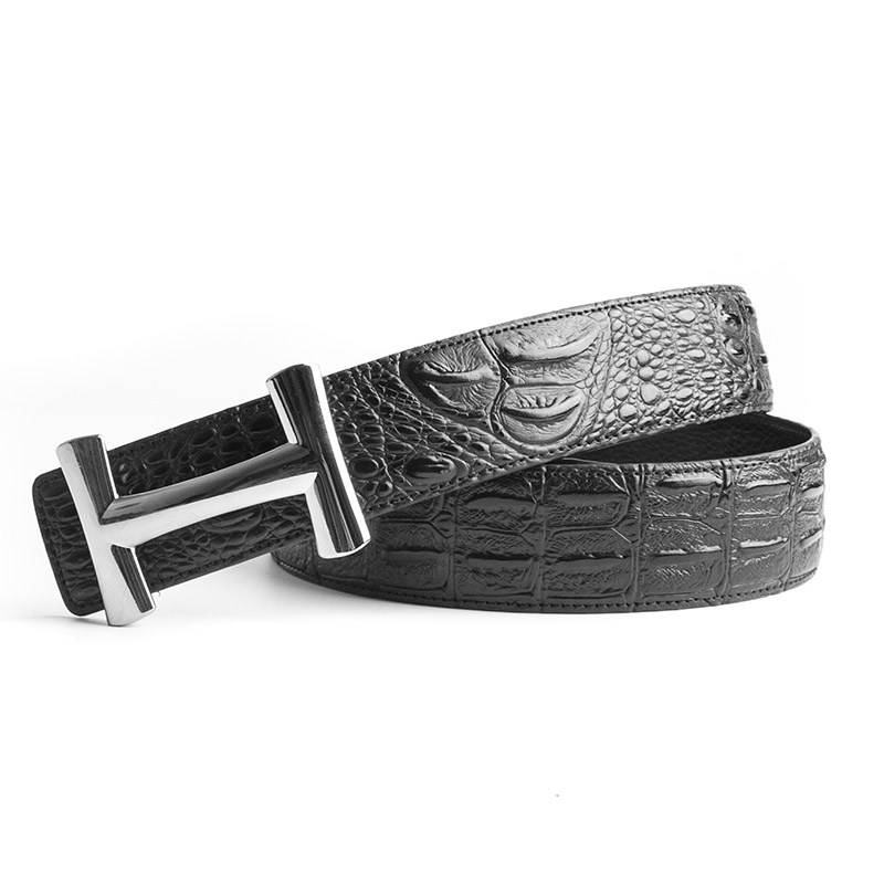 ECHAIN Luxury H Buckle Brand Designer Crocodile   Belts   Men High Quality Women Punk Genuine Real Leather Male Strap for Jeans
