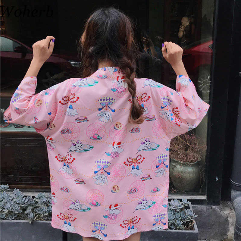 Woherb 2019 Kawaii Kimono Cardigan Women Blouse Print Cartoon Rabbit Ladies Harajuku Tops Streetwear Blusas Bandage Shirts 20995