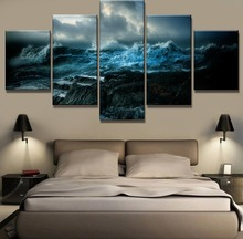 5 Piece HD Print Painting Oceans Wrath Cuadros Decoracion Paintings on Canvas Wall Art for Home Decorations Decor(Framed)