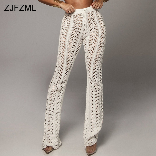 06bec28d2c5c5 ZJFZML Solid Color Crochet Beach Pants Women High Waist Hollow Out Knitted  Trousers Autumn Cotton See Through Wide Leg Pantalon
