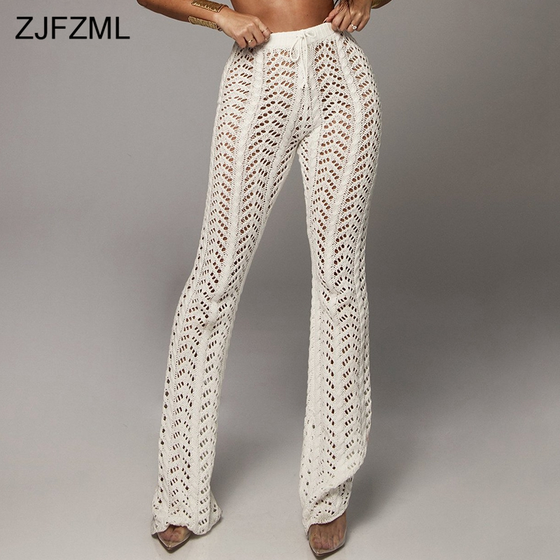 ZJFZML Solid Color Crochet Beach   Pants   Women High Waist Hollow Out Knitted Trousers Autumn Cotton See Through   Wide     Leg   Pantalon