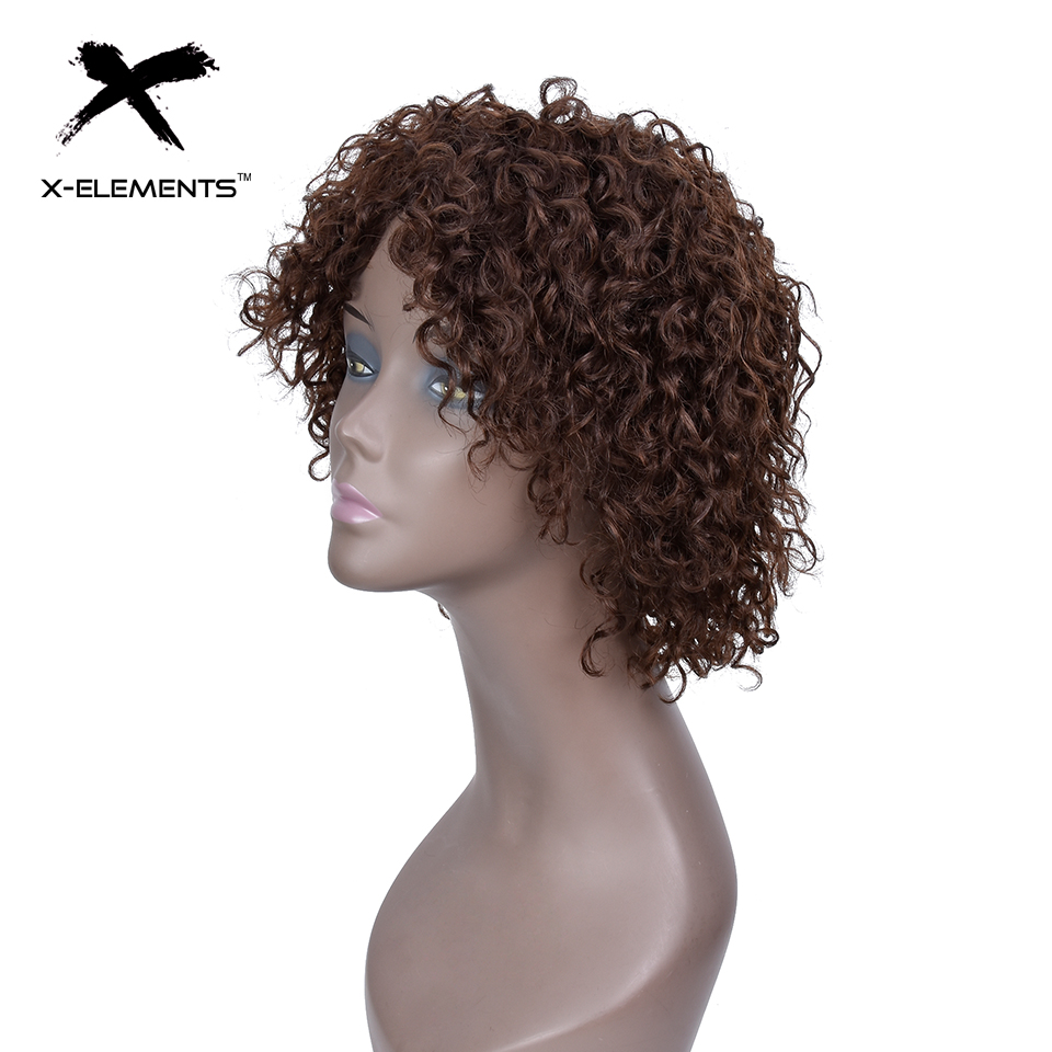 X-Element Brazilian Curly Short Human Hair Wigs with Baby Hair Non-Remy Machine Made Human Hair Wigs For Women H.ORA 6.75 Inches (6)