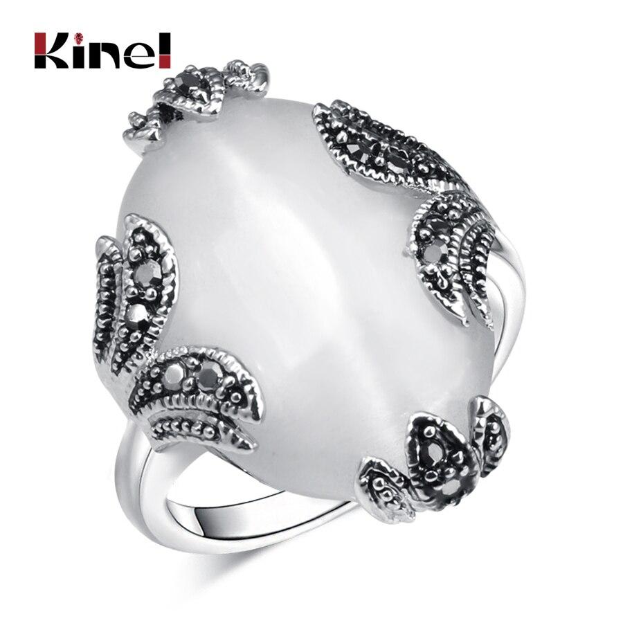 Kinel Vintage Ovale Opale Bijoux Antique Brillant De Couleur Argent Gris Cristal Mariage De Fiançailles Femmes Anneaux de Haute Qualité