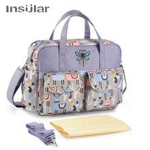 Insular bolsa de pañales para bebés, bolsa de viaje, bolso multifunción para padres, maternidad, momia, bolso de bebé para cochecito