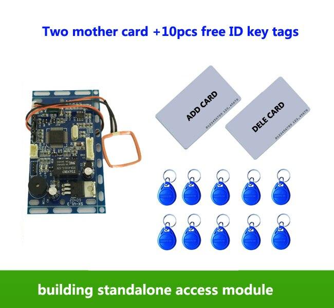 RFID EM/ID Embedded puerta Control de acceso, intercomunicación Control de acceso, control de elevación, con 2 unids tarjeta madre, 10 unids em llavero, Min: 1 unids