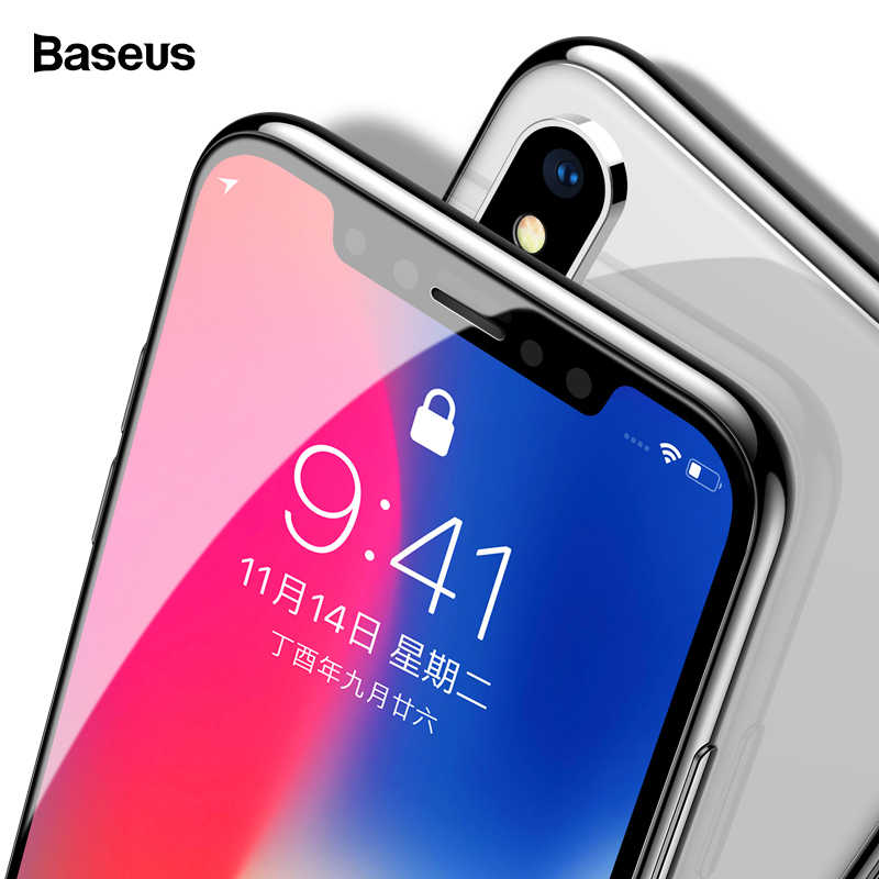 Baseus 0.3 مللي متر واقي للشاشة زجاج مقسى ل iPhone Xs Max X Xr غطاء كامل زجاج واقي ل iPhone 11 Pro Max حماية