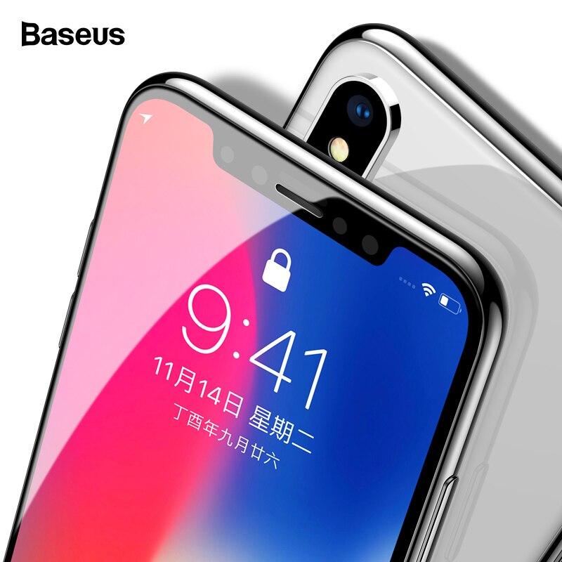 Baseus 0,3mm Screen Protector Gehärtetem Glas Für iPhone Xs Max X Xr S Weiche Kante 3D Volle Abdeckung Schutzhülle glas Für iPhone Xsmax
