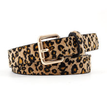 купить Fashion Sexy Female Belt Cummerbund Women Horsehair Belt With Leopard Pattern Rose Gold Metal Buckle Women PU Belt дешево