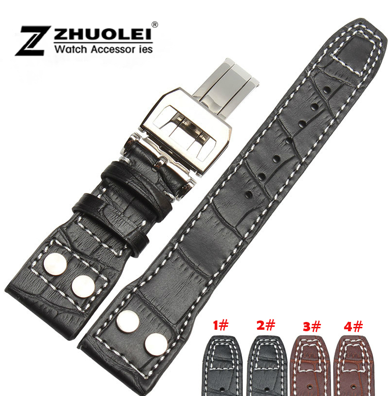 22mm Black Genuine Leather Rivet Watch Band Strap Deployment For BRAND Big Pilot Free Shipping все цены