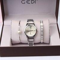 3PC Set GEDI Brand Women Watches Fashion Party Ladies Watch Creative Design Bracelet Watch Luxury Relojes Mujer 2018 relogios