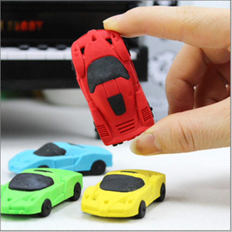 4 PC/Lot Cool Cartoon Car-Shaped Rubber & Eraser For School Stationery & Office, XP00015