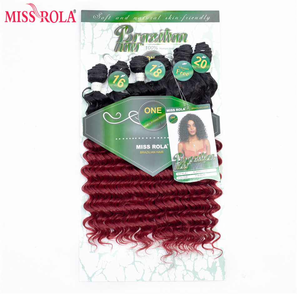 Miss Rola Ombre Synthetic Hair Extensions Deep Wave Hair Weaves Hair Wefts T1B/BUG With Free Closure 16-20 inch 6pcs/Pack 200g