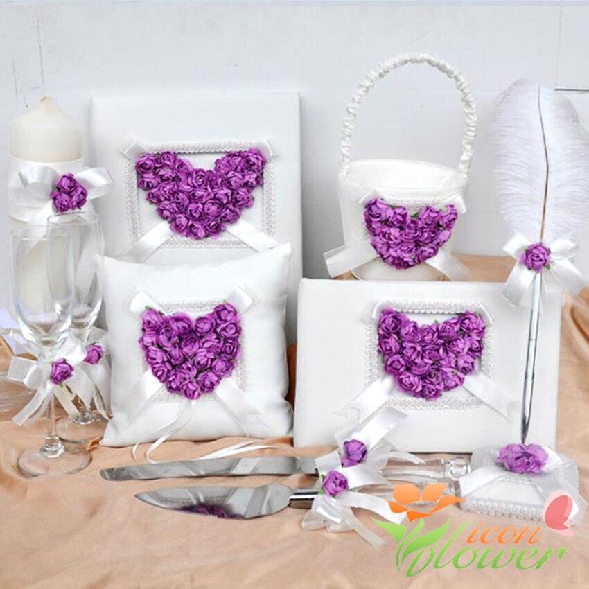 4Pcs set Heartshaped ring pillow Flower basket Guest Book Pen Set for Wedding Decoration Bridal Product