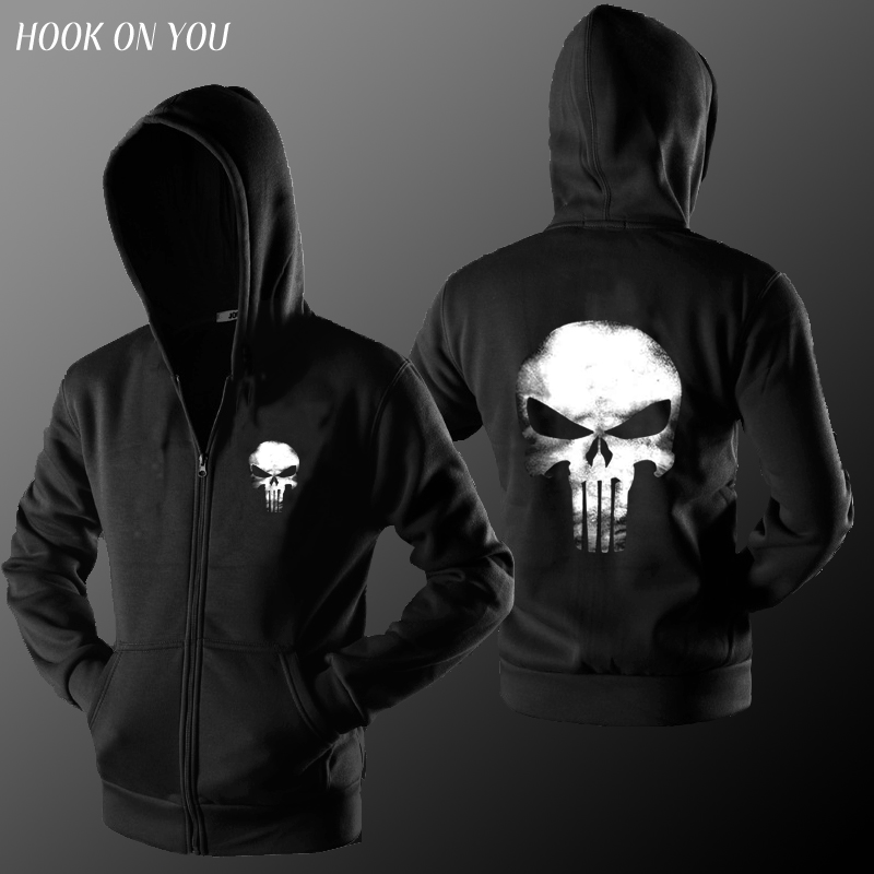2017 New Hot Movie  Dark Souls The Punisher Skull Men Zipper Cardigan Hoodies Print Coat Clothes Casual Sweatshirt