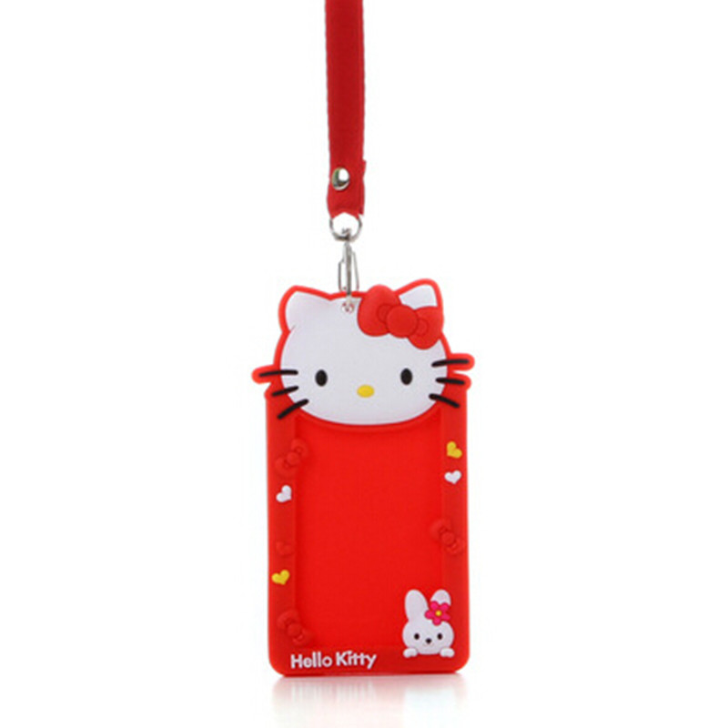 Cute hello kitty silicone name id holder case kids bus card sets cute hello kitty silicone name id holder case kids bus card sets business badge card holder with necklace lanyard in storage bags from home garden on reheart