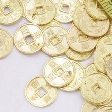 цена на 50 PCS Mini 10mm Feng shui Golden Coin Charms Crafts Pendant Metal Feng Shui