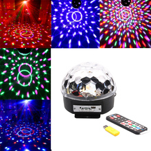 Hot 6*3W LEDs Voice Cotrol Laser Stage Light MP3 Magic Ball Light IR Remote Digital RGB LED Crystal Magic Ball