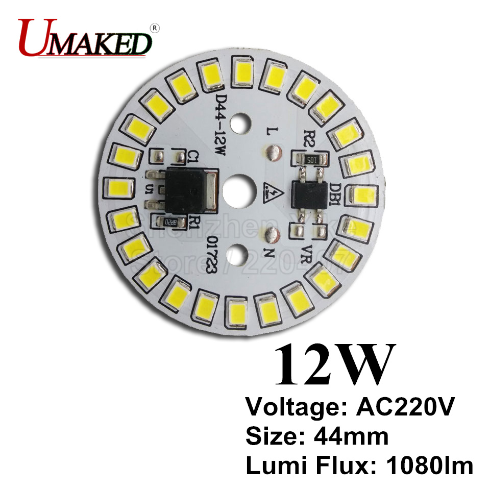 12W 44mm AC 220v Led Pcb With Integrated IC Driver For Bulb Light, Warm White/ White Driverless Aluminum Plate Board, Free Ship