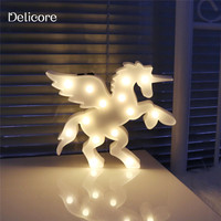 DELICORE 3D Animal Led Night Lights Unicorn Shaped Marquee Lamp With Usb On Wall For Children