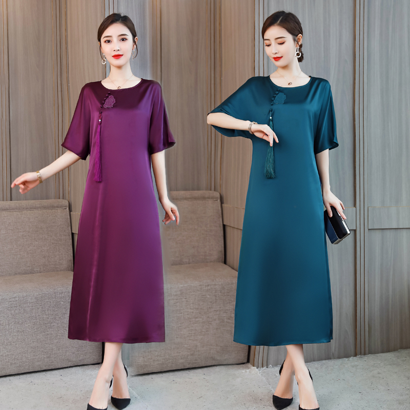 0255 Summer Women Short Sleeve Loose Dress Elegant Ladies Sloid Clothing Female Plus Size 4XL Dresses For Women Chinese Style in Dresses from Women 39 s Clothing