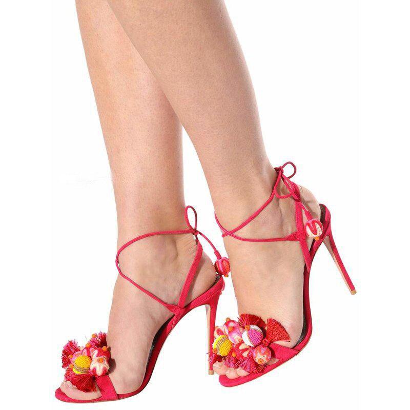 bleu Sandales Noir rose Ouvert D'été Dames Stiletto Rome Style Cheville Boucle Pompes Bout Femmes Lacets Chaussures Gland Talons Balle 2019 Hauts À SRq1EH1w