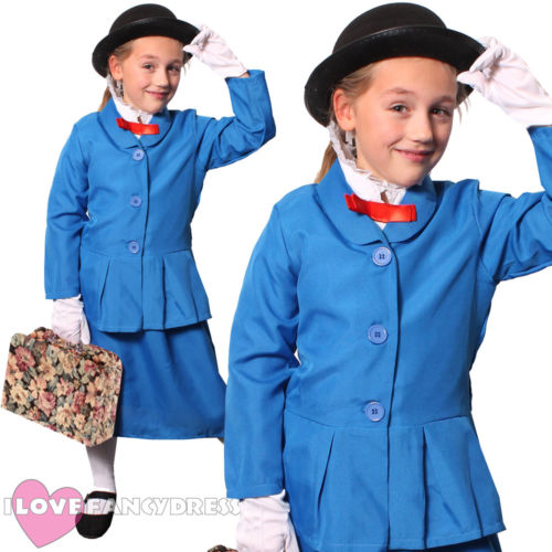 Girls Mary Poppins Returns Costume Book Week Nanny Fancy Dress Outfit
