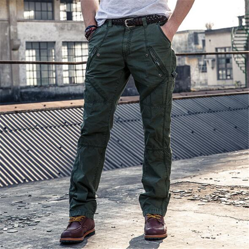 Mens Summer Cargo Pants Cotton Mens Multi Pocket Military Overall Men Casual Quality Long Trousers Dark Gray, Army Green