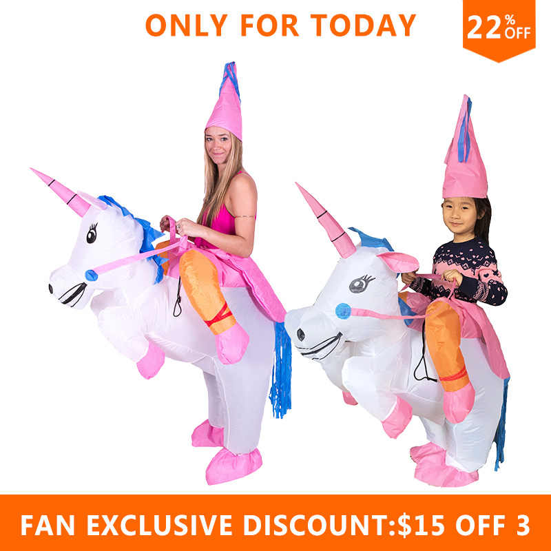 f1790dff9a8f3 ... JYZCOS Inflatable Unicorn Costumes for Kids Adult Fancy Dress Ride Horse  Suit Halloween Purim Carnival Party ...