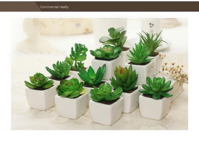 5 шт./лот маленькие зеленые искусственные суккуленты растения свадебные бонсай plantas artificiales con maceta горшках искусственные сочные