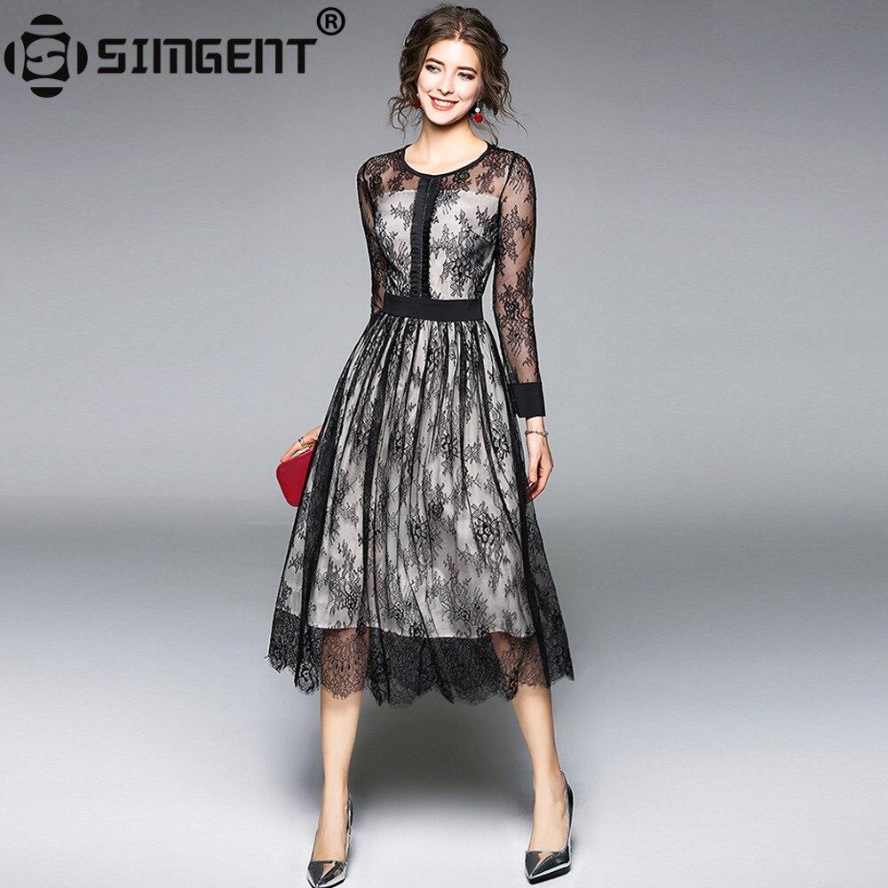 Simgent New Fashion Dress 2018 Spring Long Sleeve A Line Elegant Office Casual Midi Slim Lace Dress Woman Cloths Vestidos SG8133