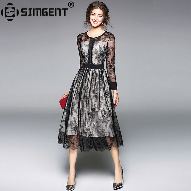 d1600d5e167b Simgent New Fashion Dress 2018 Spring Long Sleeve A Line Elegant Office  Casual Midi Slim Lace Dress Woman Cloths Vestidos SG8133