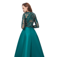 Long Sleeves Green Sequins Prom Dresses