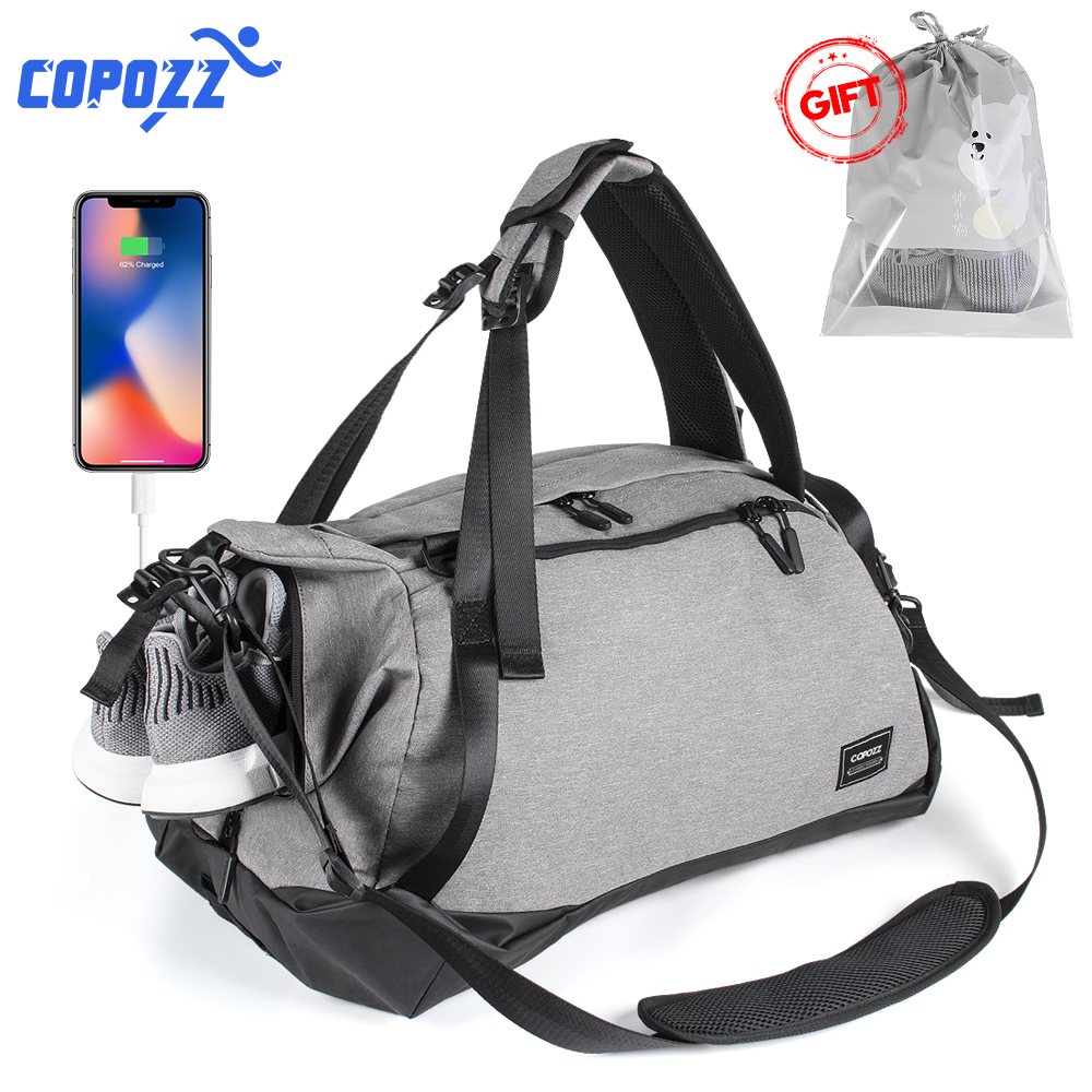 COPOZZ Gym Bag USB Charging Shoe Compartment 35 55L Capacity for Women Fitness Yoga Teenager Men Backpack Travel Mochila Leisure|Gym Bags| |  - title=
