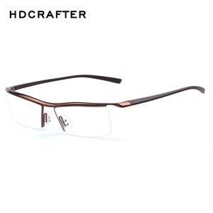 Image 4 - Hdcrafter 2018 óculos de miopia quadrados sem aro quadro masculino marca confortável resistente ao deslizamento armações para homem