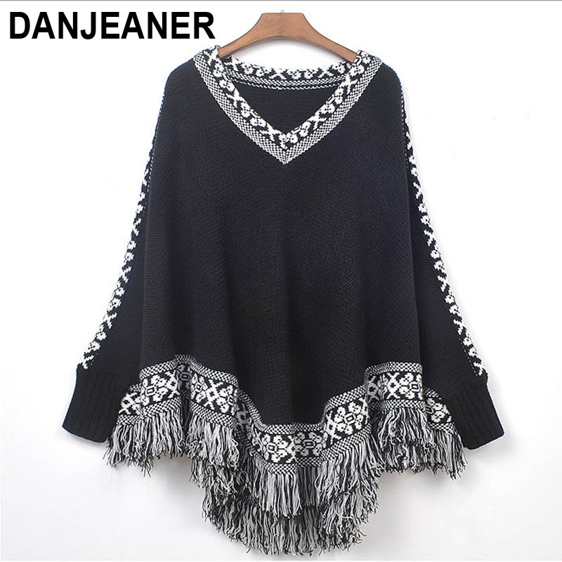 The New Female 2015 Autumn And Winter Han Edition Fringed Shawl Cloak V-neck Loose Sweater Coat A0840