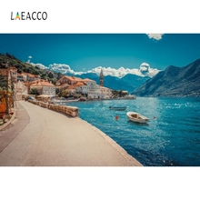 Laeacco Coastal Cities Sea Boat Mountain Nature Screen Photography Background Customized Photographic Backdrops for Photo Studio cities for sale