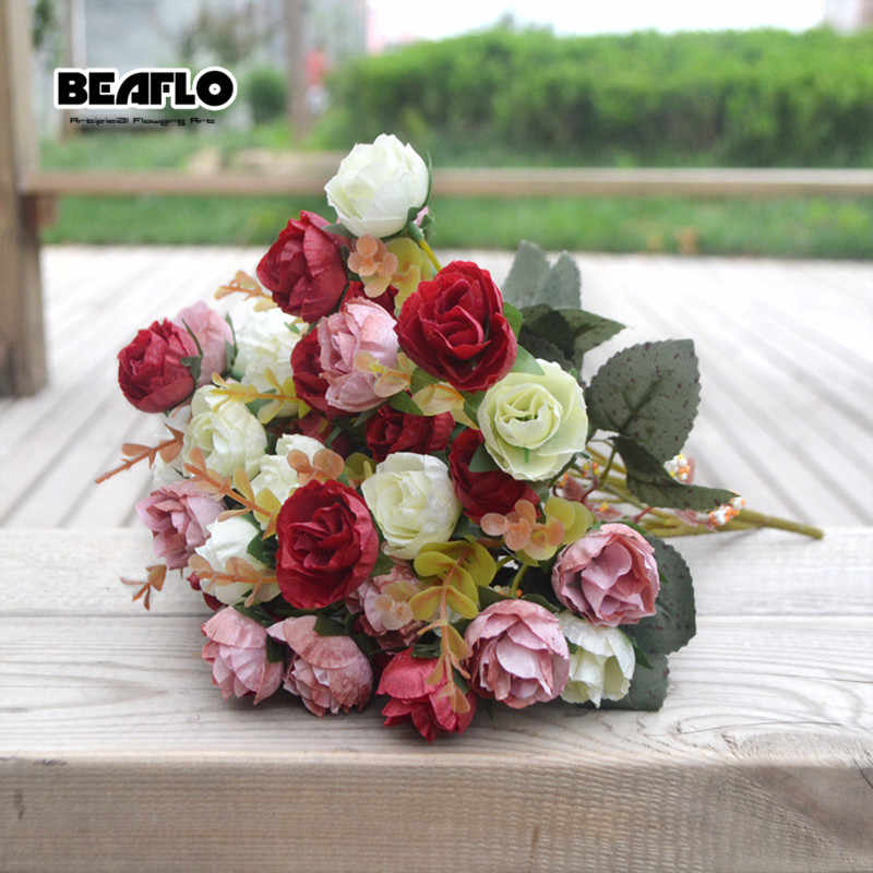 21 Heads Bouquet Silk Flowers Artificial Rose Flower Diy Romantic Floral For Wedding Party Home Decoration 6 Colors Aliexpress