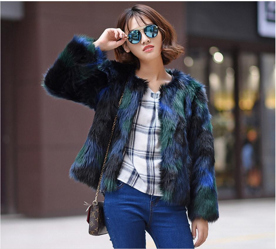 Women Mixed Color Casual Fur Jackets Short Section Winter Autumn Fur  Clothes Female Man Made Fur Coats Plus Size Outwear J2041-in Faux Fur from  Women s ... f912b25a7