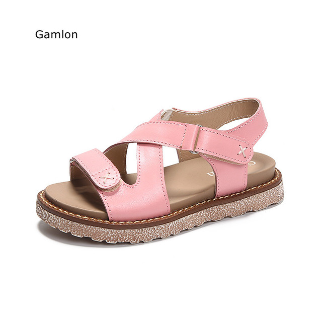 40f1ebf1fbc468 Gamlon Genuine Leather Girl Sandals 2017 New Summer Baby Princess Shoes  Children Primary School Students Roman Sandals Female