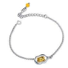 Аниме желтое ленивое яйцо Гудетама браслеты из серебра 925 пробы аксессуары Cos подарок