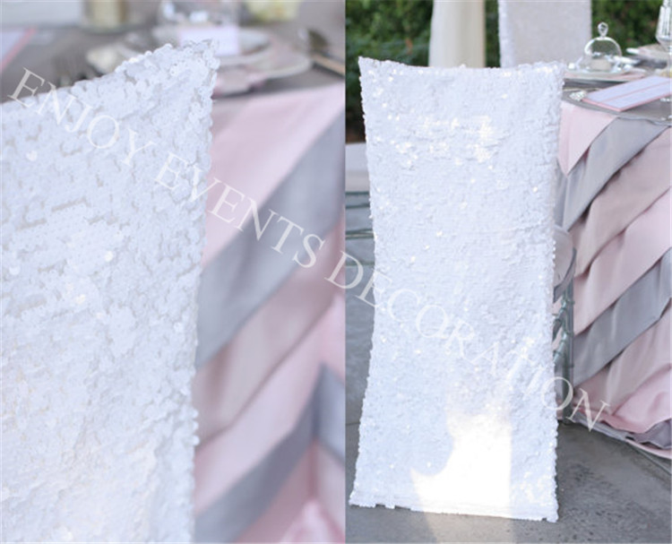 Chair Back Covers Wedding Cloth Portable High 12pcs Yhc 113 Elegant Sequins Chiavari Cover With Pleats Organza Skirt For Decor In From Home Garden On Aliexpress Com