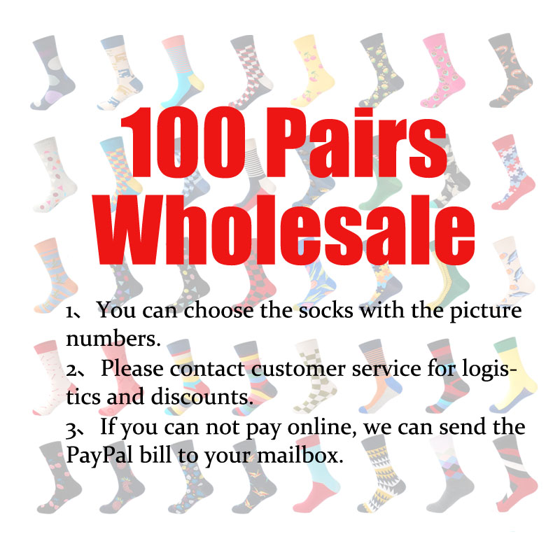 LIONZONE 100Pairs Wholesale Brand Men   Socks   High Quality 300+ Colors Cotton Happy   Socks   Please Contact Customer Service