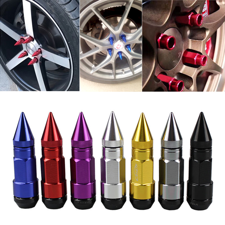 <font><b>Car</b></font> Styling <font><b>Wheel</b></font> Nuts M12X1.5/M12X1.25 Racing Composite Nut Anti Theft Steel <font><b>Lock</b></font> <font><b>Wheel</b></font> Lug Nut <font><b>Bolt</b></font> With Spikes Red Blue Black image