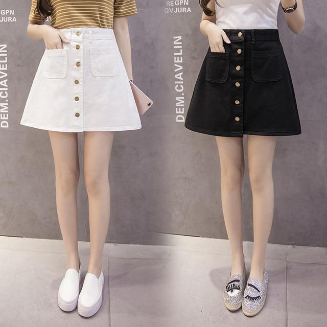 On sale 2019 Summer Skirt Womens A-line Denim Blue Mini Skirt High Waist Jeans Harajuku Pockets Jeans Skirt Button Open White 4