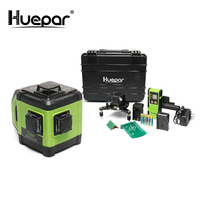 Huepar Electronic Self Leveling 3D Green Beam Laser Level 3x360 Cross Line Three Plane Leveling Alignment Dual Slope Function