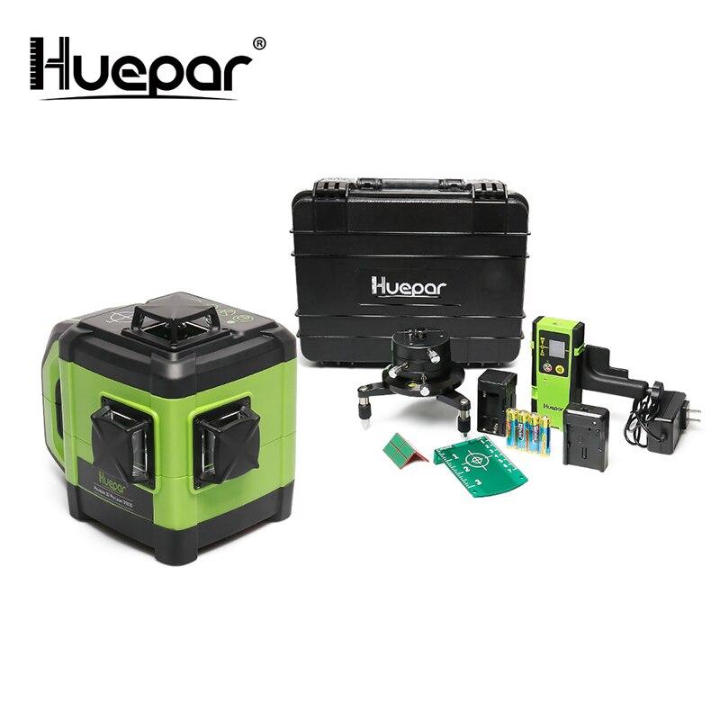 Huepar eletrônico auto-nivelamento 3d feixe verde laser nível 3x360 cross line três-plano alinhamento de nivelamento-dupla função de inclinação