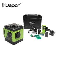 Huepar الإلكترونية الذاتي التسوية ثلاثية الأبعاد ليزر أخضر المستوى 3x360 عبر خط ثلاثة طائرة التسوية محاذاة المزدوج المنحدر وظيفة