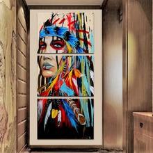 HD geprinte 3-delige canvaskunst native American Indian met veren schilderij muur foto voor woonkamer 2018 dropshipping
